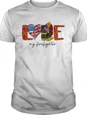 Love my firefighter fire american flag independence day shirt