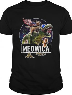 Meowica Cat T Rex Dinosaur 4th Of July shirt