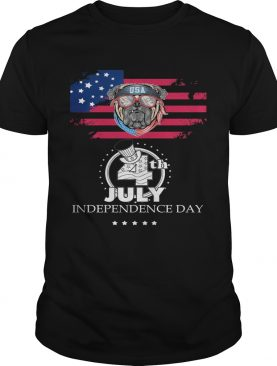 Pug american flag america 4th of july independence day shirt