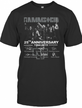 Rammstein 25Th Anniversary 1994 2019 Thank You For The Memories Signatures T-Shirt