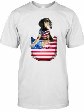 Saluki Pocket American Flag Independence Day T-Shirt