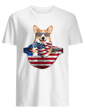 Welsh corgi waist pack american flag independence day shirt