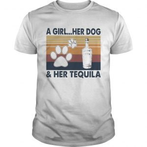 A Girl Her Dog And Her Tequila Footprint Vintage Retro  Unisex