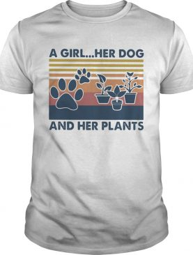 A girl Her dog and her plants Vintage retro shirt