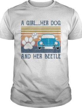 A girl her dog paw and her beetle car blue vintage retro shirt