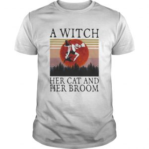A witch her cat and her broom vintage retro  Unisex