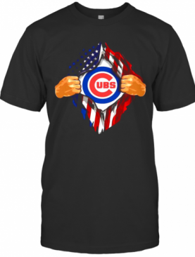 Blood Insides Chicago Cubs American Flag Independence Day T-Shirt