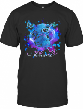 Disney Stitch And Butterflies Ohana Color T-Shirt