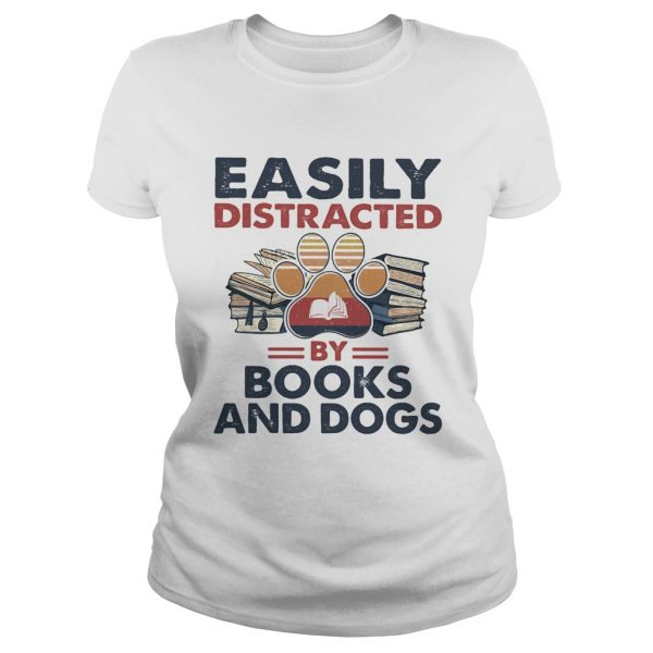 Easily Distracted By Book And Dogs Footprint Vintage Retro  Classic Ladies