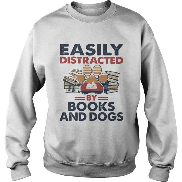 Easily Distracted By Book And Dogs Footprint Vintage Retro  Sweatshirt