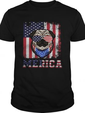 Merica Dog Glasses Amrican Flag Independence Day shirt