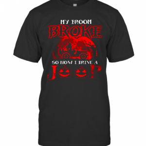 My Broom Broke So Now I Drive A Jeep Red T-Shirt Classic Men's T-shirt
