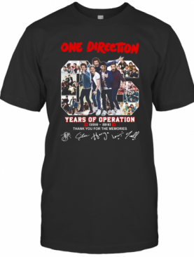 One Direction 06 Years Of Operation 2010 2016 Thank You For The Memories Signatures T-Shirt