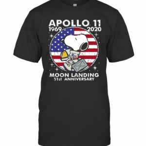 Snoopy Apollo 11 1969 2020 Moon Landing 51St Anniversary American Flag Independence Day Stars T-Shirt Classic Men's T-shirt
