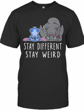 Stitch And Toothless Dragon Stay Different Stay Weird T-Shirt