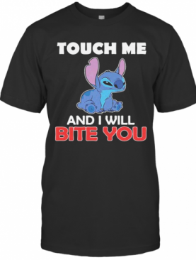 Stitch Touch Me And I Will Bite You Black T-Shirt