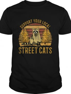 Support Your Local Street Cats Raccoon Sunset shirt
