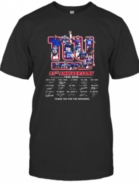 The New York Giants 95Th Anniversary 1925 2020 Thank You For The Memories Signnatures T-Shirt