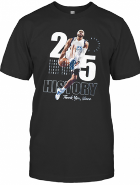 Vince Carter No.25 Dallas Basketball Legends History Thank You Vince T-Shirt