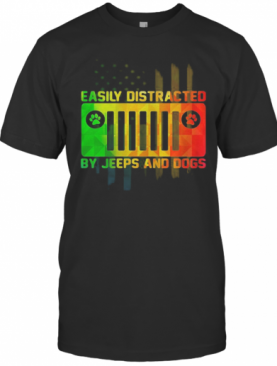 Easily Distracted By Jeeps And Dogs Paw T-Shirt
