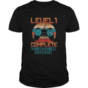 Game level 1 complete name 1 and name 2 date here vintage retro  Unisex