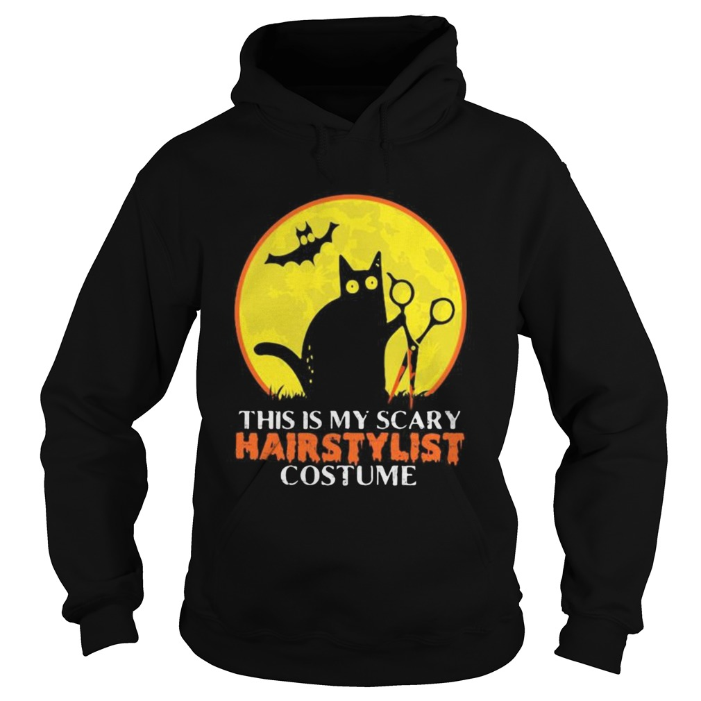 Halloween black cat this is my scary hairstylist costume sunset Hoodie