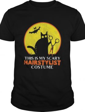 Halloween black cat this is my scary hairstylist costume sunset shirt