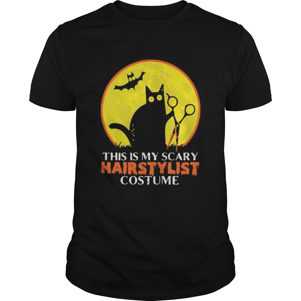 Halloween black cat this is my scary hairstylist costume sunset Unisex
