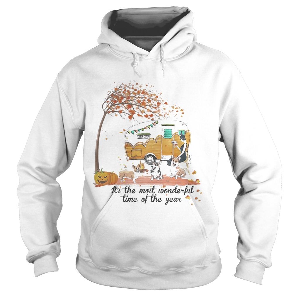 Its The Most Wonderful Time Of The Year Corgi Pumpkin Camping Halloween  Hoodie