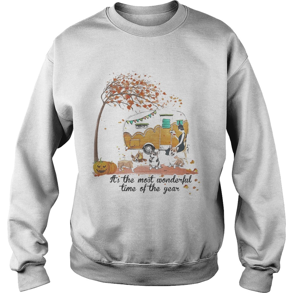 Its The Most Wonderful Time Of The Year Corgi Pumpkin Camping Halloween  Sweatshirt