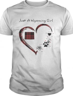 Just A Wyoming Girl Love Flip Flop Dog Wine Wyoming Map shirt