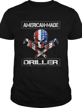 American Made Driller Skull Wrenches American Flag Grunge shirt