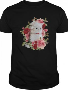 Cat White With Flower shirt