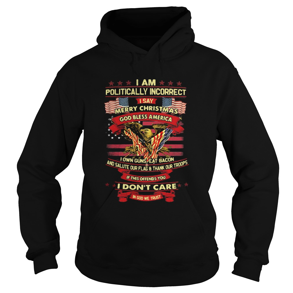 I am politically incorrect I say merry christmas god bless america if this offends you I dont care Hoodie