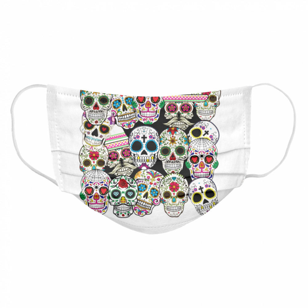 Mexican Day Of The Dead Sugar Skulls  Cloth Face Mask