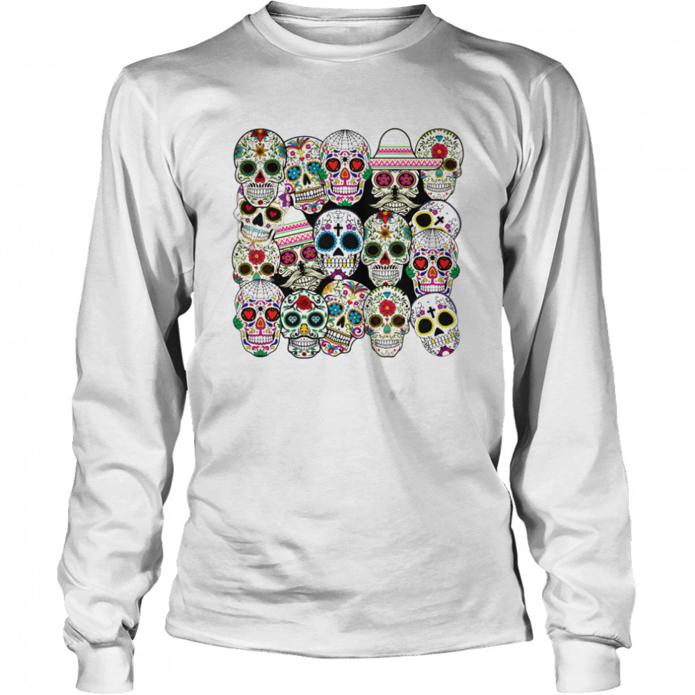 Mexican Day Of The Dead Sugar Skulls  Long Sleeved T-shirt