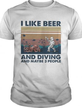 Octopus I like beer and diving and maybe 3 people vintage retro shirt