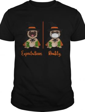 Pug Dog Witch Expectations Reality Halloween shirt