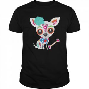 Skull Chihuahua Day Of The Dead  Classic Men's T-shirt