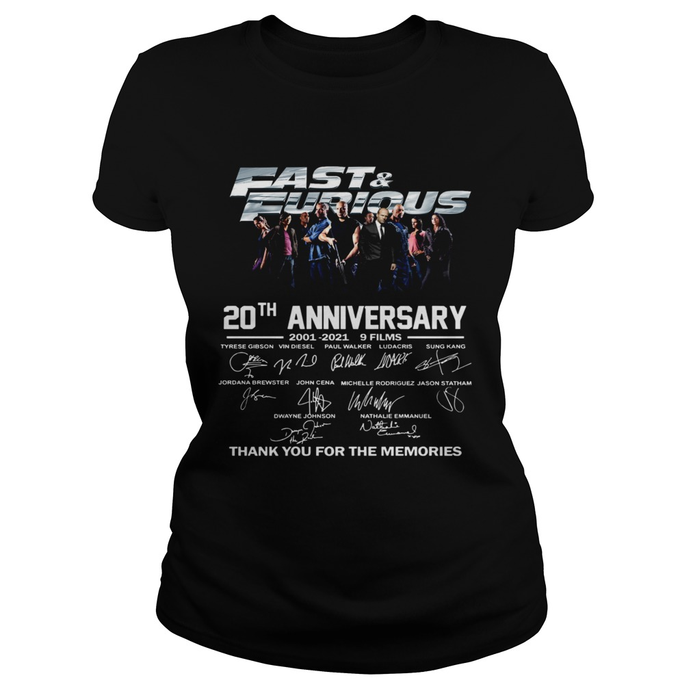 Fast And Furious 20th Anniversary 2001 2012 9 Films Thank You For The Memories Signature Classic Ladies