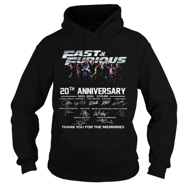 Fast And Furious 20th Anniversary 2001 2012 9 Films Thank You For The Memories Signature  Hoodie