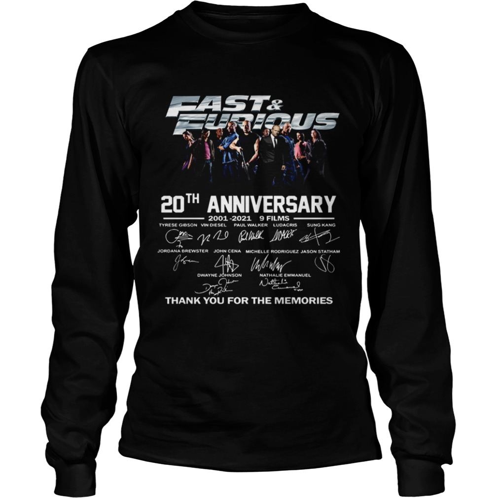 Fast And Furious 20th Anniversary 2001 2012 9 Films Thank You For The Memories Signature Long Sleeve