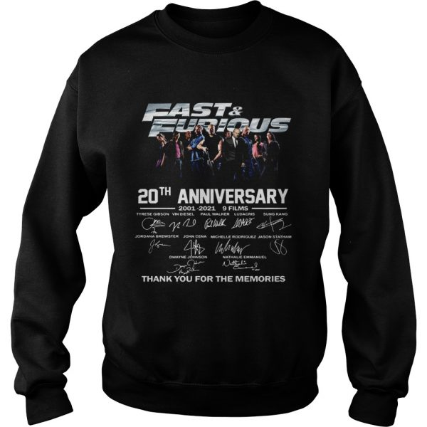 Fast And Furious 20th Anniversary 2001 2012 9 Films Thank You For The Memories Signature  Sweatshirt