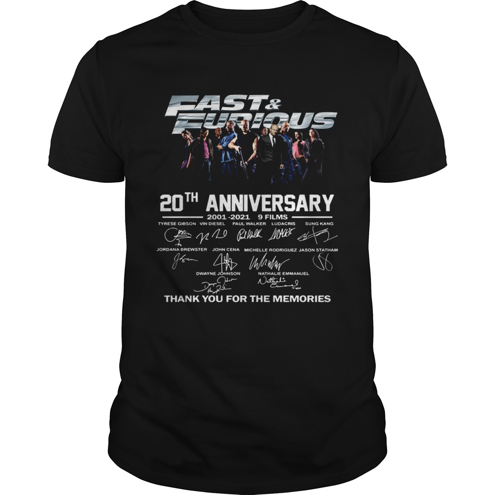 Fast And Furious 20th Anniversary 2001 2012 9 Films Thank You For The Memories Signature Unisex