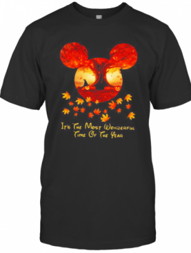 Halloween Mickey Mouse It'S The Most Wonderful Time Of The Year Leaves Map T-Shirt