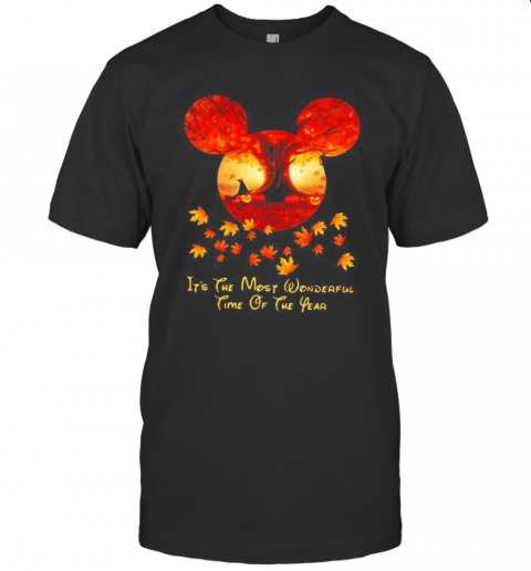 Halloween Mickey Mouse It'S The Most Wonderful Time Of The Year Leaves Map T-Shirt Classic Men's T-shirt