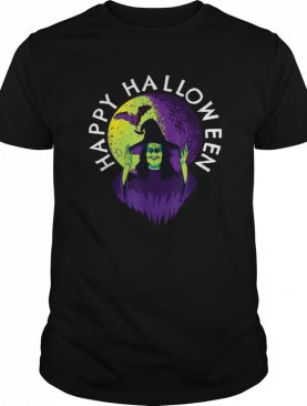 Halloween Spooky Witch and Vampire Bat in Full Moon shirt
