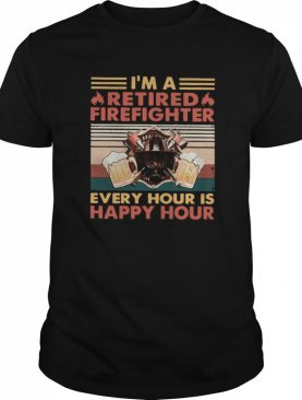 I'm A Retired Firefighter Every Hour Is Happy Hour Vintage Retro shirt