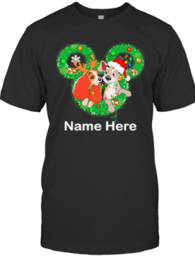 Lady And The Tramp Mickey Mouse Name Here Christmas T-Shirt