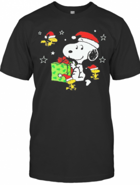 Snoopy And Woodstock Merry Christmas Stars T-Shirt